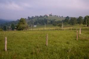 pohled na rozhledu na Růžovém vrchu