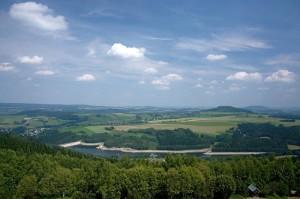 pohled z přečerpávací přehrady